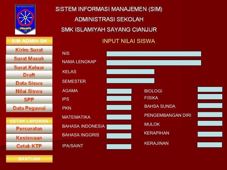 INPUT NILAI SISWA NIS NAMA LENGKAP KELAS SEMESTER AGAMA IPS PKN MATEMATIKA BAHASA INDONESIA BAHASA INGGRIS IPA/SAINT BIOLO...