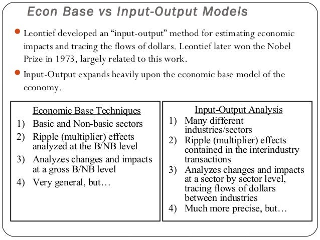 "Econ Base vs Input-Output Models Leontief developed an ""input-output"" method for estimating economic  impacts and tracing..."