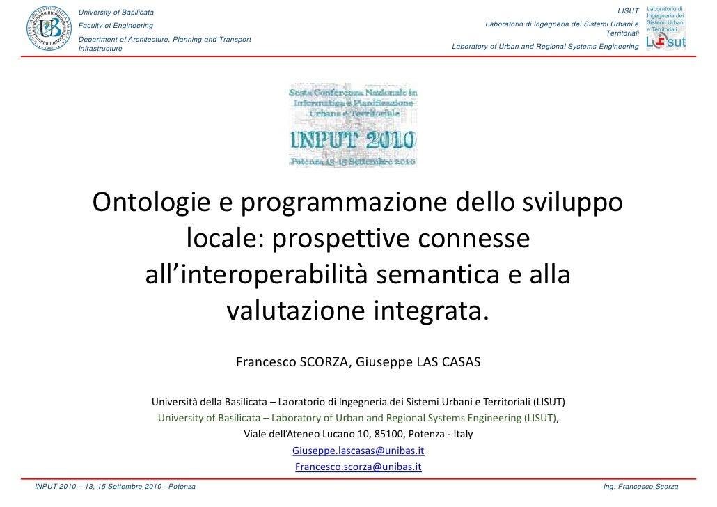 Ontologie e programmazione dello sviluppo locale: prospettive connesse all'interoperabilità semantica e alla valutazione integrata, di Francesco Scorza, Giuseppe Las Casas