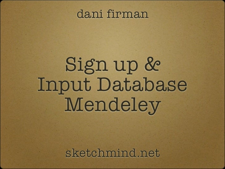Input database mendeley