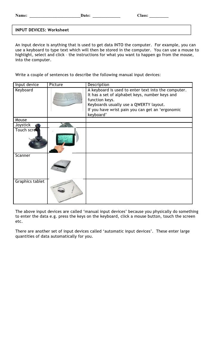 Input Devices Worksheet 5