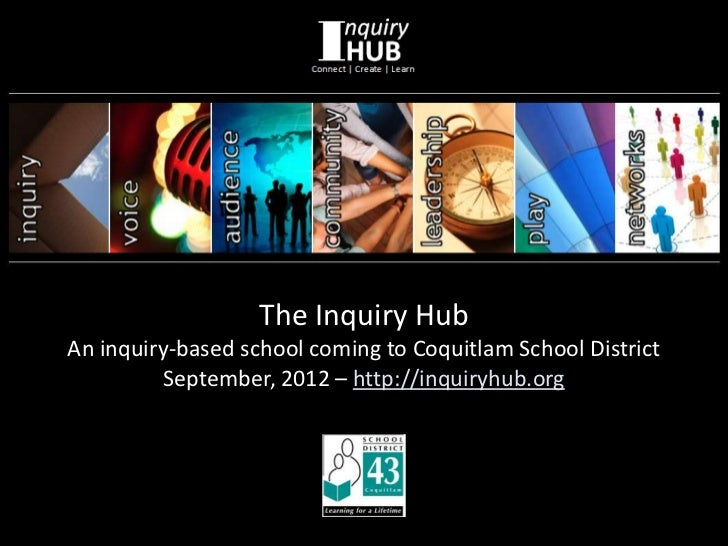 The Inquiry HubAn inquiry-based school coming to Coquitlam School District         September, 2012 – http://inquiryhub.org