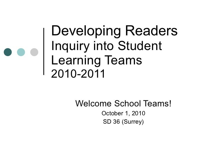 Developing Readers Inquiry into Student Learning Teams 2010-2011 Welcome School Teams! October 1, 2010 SD 36 (Surrey)