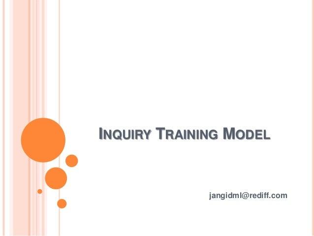 Inquiry training model by jangid ml