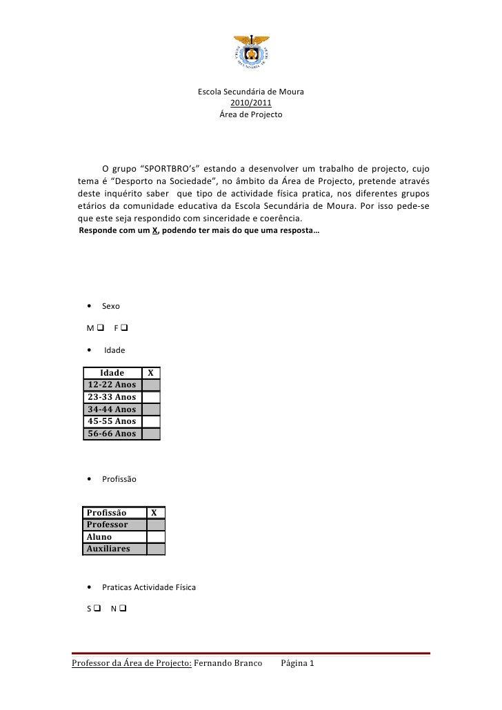 Escola Secundária de Moura                                             2010/2011                                          ...