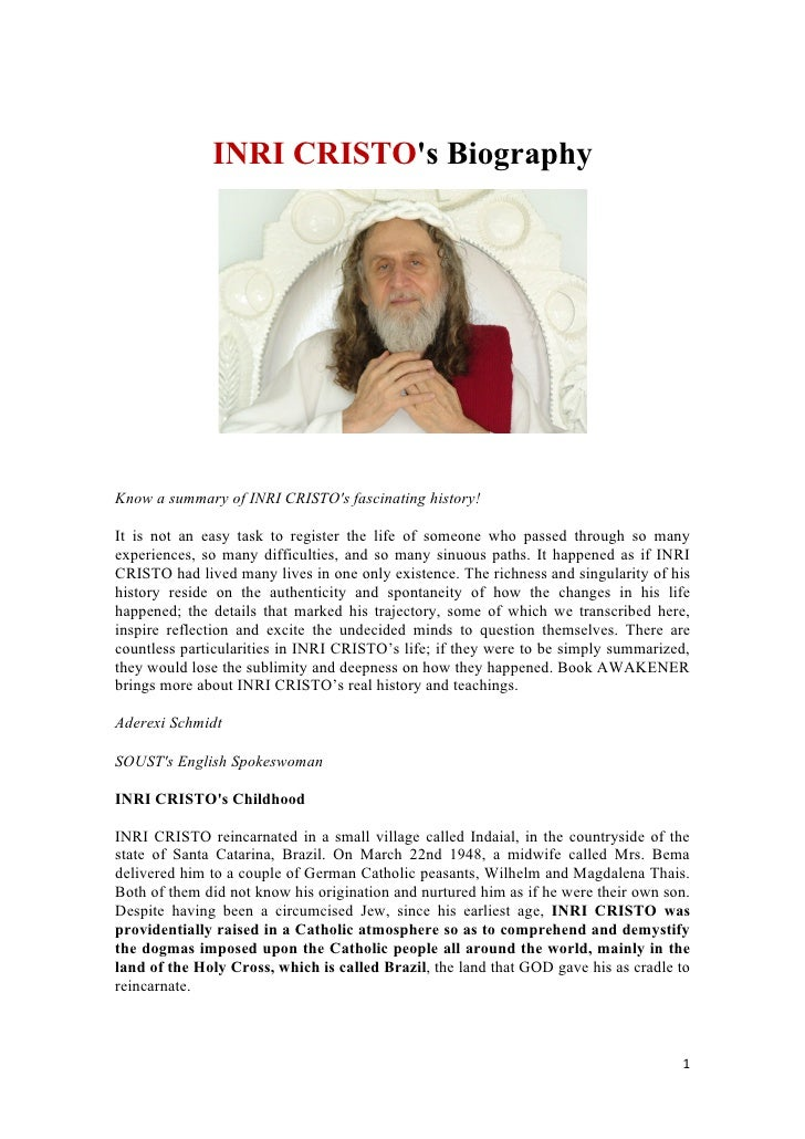 INRI CRISTO's Biography     Know a summary of INRI CRISTO's fascinating history!  It is not an easy task to register the l...
