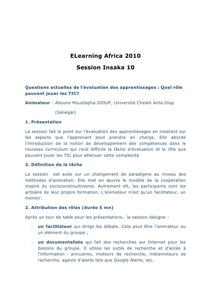 ELearning Africa 2010                            Session Insaka 10   Questions actuelles de l'évaluation des apprentissage...