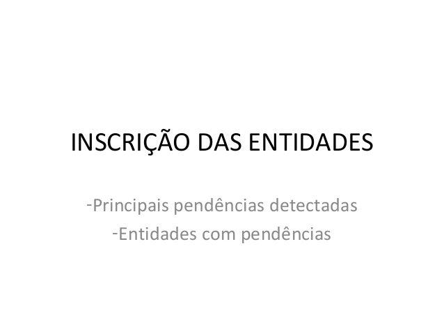 INSCRIÇÃO DAS ENTIDADES -Principais pendências detectadas -Entidades com pendências