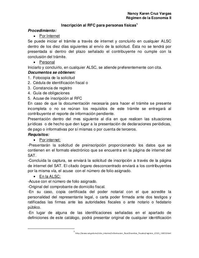 Nancy Karen Cruz Vargas Régimen de la Economía II Inscripción al RFC para personas físicas1 Procedimiento: Por Internet Se...