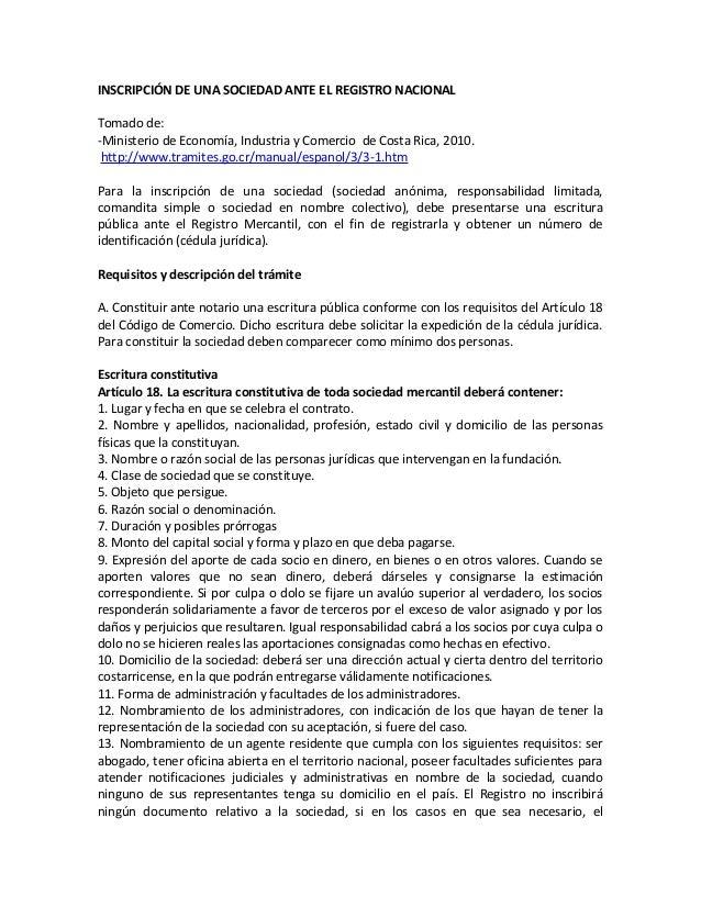 INSCRIPCIÓN DE UNA SOCIEDAD ANTE EL REGISTRO NACIONAL Tomado de: -Ministerio de Economía, Industria y Comercio de Costa Ri...