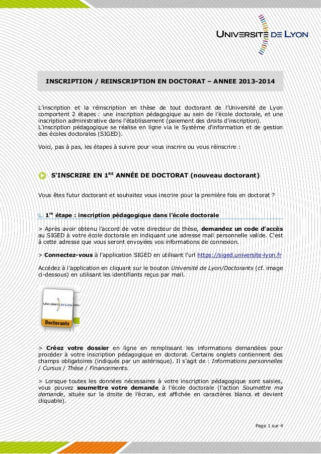 Page 1 sur 4  INSCRIPTION / REINSCRIPTION EN DOCTORAT – ANNEE 2013-2014  L'inscription et la réinscription en thèse de tou...