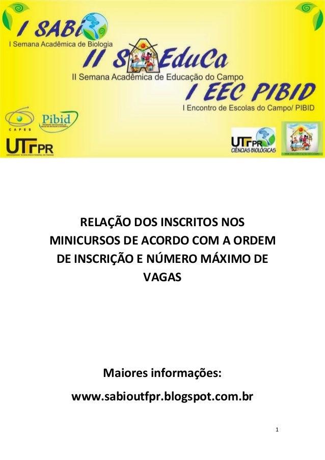 1RELAÇÃO DOS INSCRITOS NOSMINICURSOS DE ACORDO COM A ORDEMDE INSCRIÇÃO E NÚMERO MÁXIMO DEVAGASMaiores informações:www.sabi...