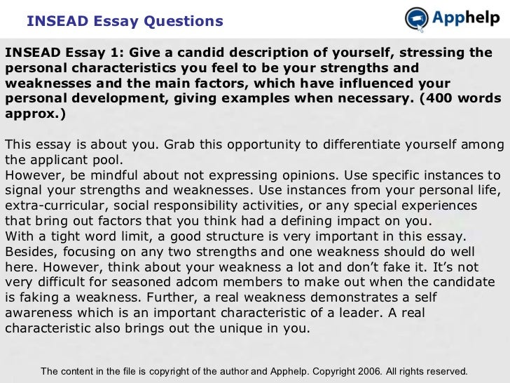 insead application essay
