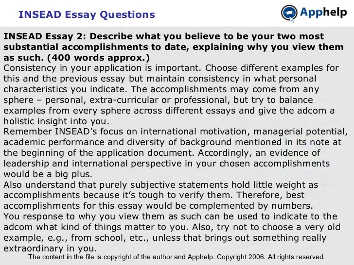 INSEAD Essay Analysis - MBA Program - General Education