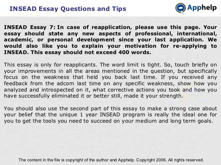 Insead essay weakness