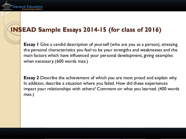 Mba admission essays services insead
