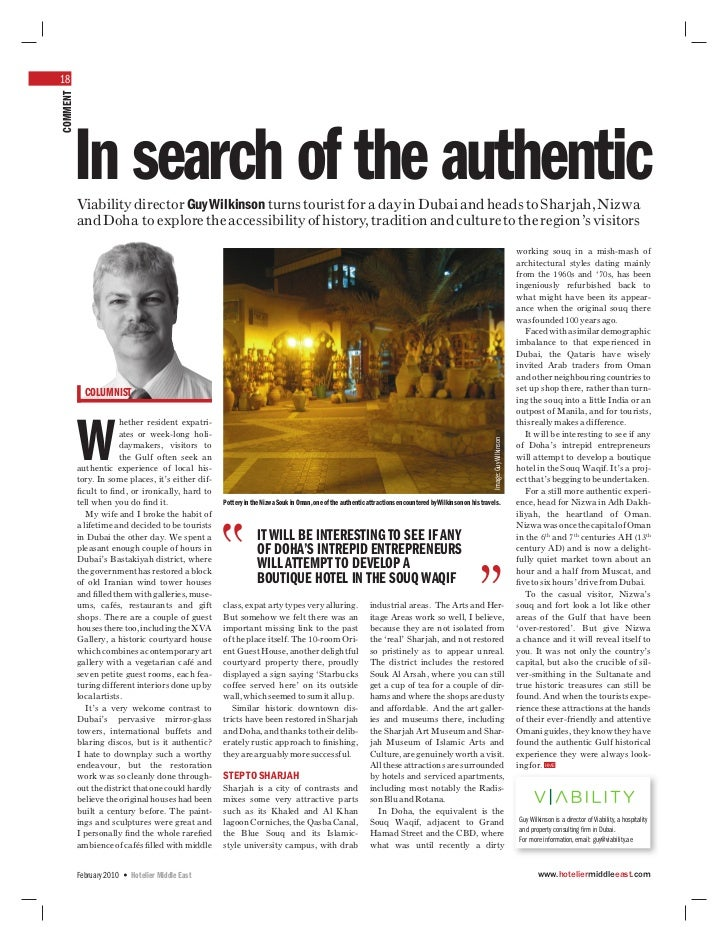 18COMMENT      In search of the authentic          Viability director Guy Wilkinson turns tourist for a day in Dubai and h...