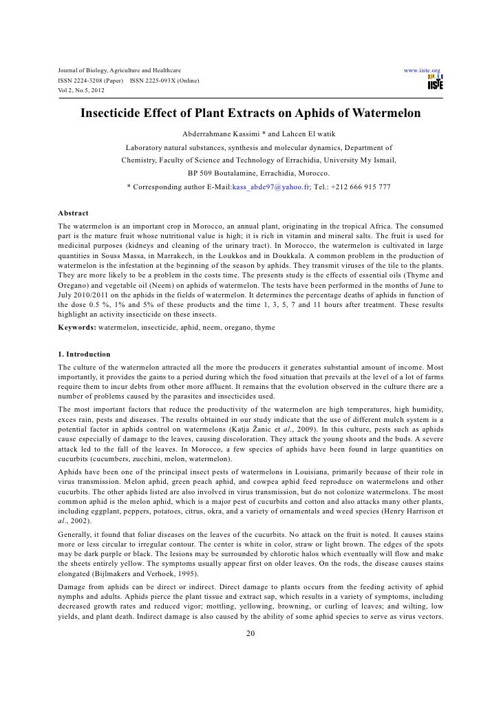 Insecticide effect of plant extracts on aphids of watermelon