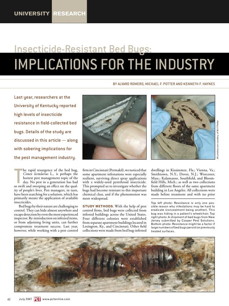 Insecticide Resistant Bed Bugs - Implications for the Industry