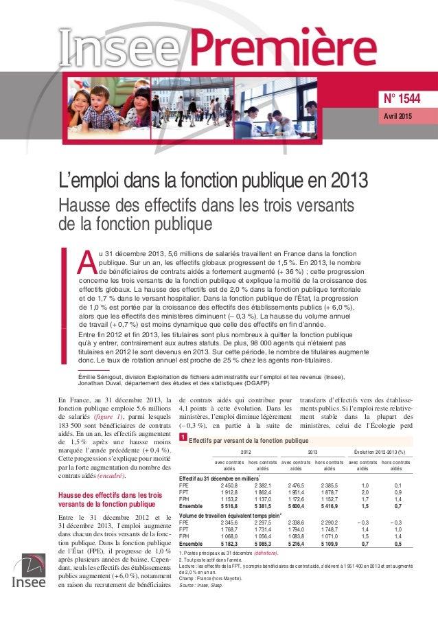 L'emploi dans la fonction publique en 2013 Hausse des effectifs dans les trois versants de la fonction publique A u 31 déc...