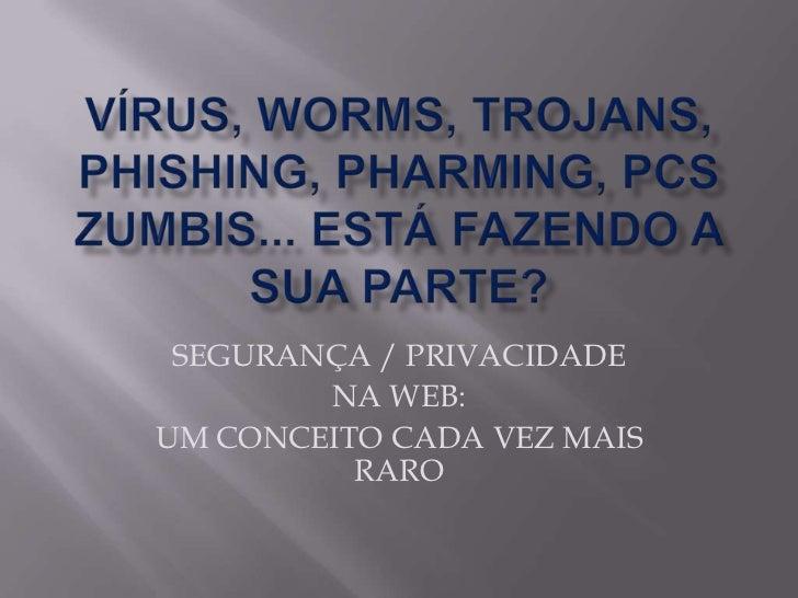 Vírus, worms, trojans, phishing, pharming, PCs Zumbis... está fazendo a sua parte? <br />SEGURANÇA / PRIVACIDADE <br />NA ...