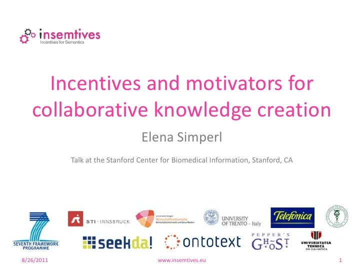 Incentives and motivators for   collaborative knowledge creation                                 Elena Simperl            ...
