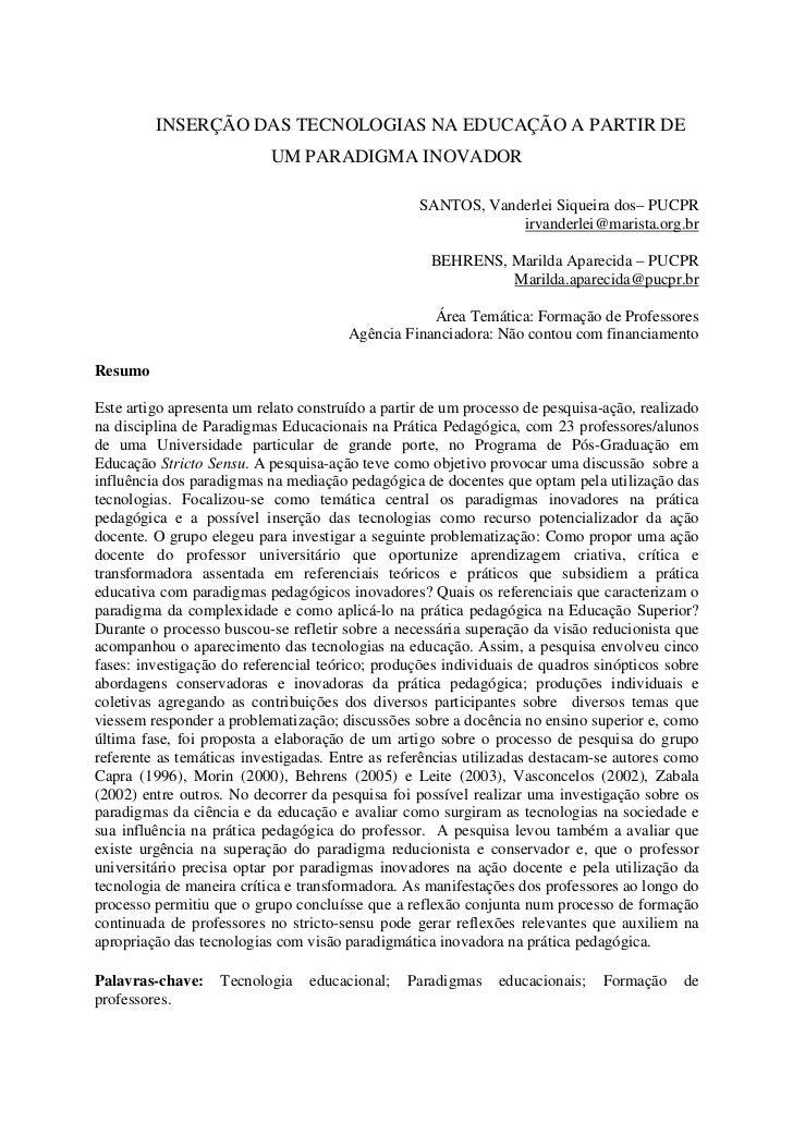 INSERÇÃO DAS TECNOLOGIAS NA EDUCAÇÃO A PARTIR DE                            UM PARADIGMA INOVADOR                         ...