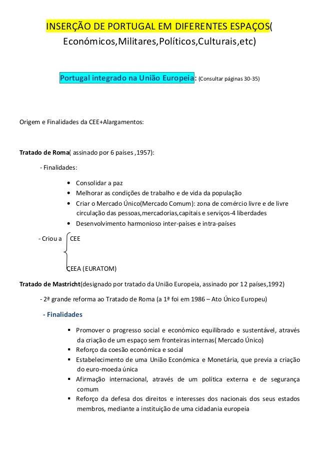 INSERÇÃO DE PORTUGAL EM DIFERENTES ESPAÇOS(Económicos,Militares,Políticos,Culturais,etc)Portugal integrado na União Europe...