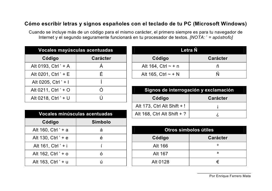 Cómo escribir letras y signos españoles con el teclado de tu PC (Microsoft Windows) Cuando se incluye más de un código par...