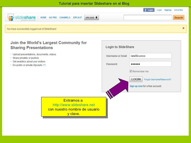 Insertar slideshare en el blog