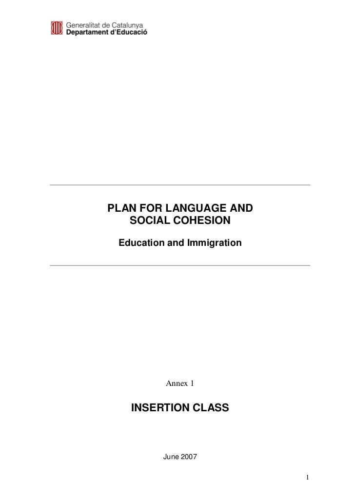 PLAN FOR LANGUAGE AND   SOCIAL COHESION Education and Immigration          Annex 1   INSERTION CLASS          June 2007   ...