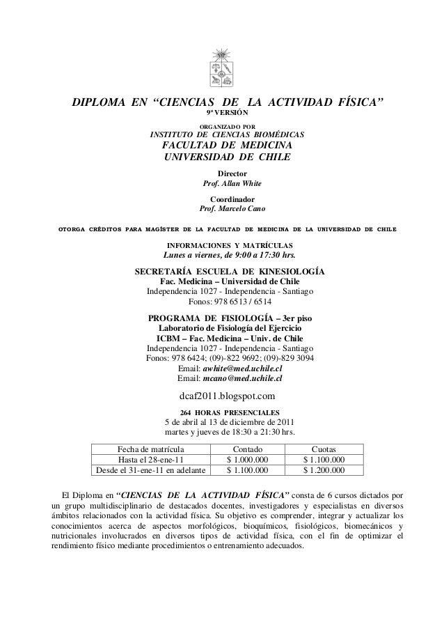 """DIPLOMA EN """"CIENCIAS DE LA ACTIVIDAD FÍSICA"""" 9ª VERSIÓN ORGANIZADO POR INSTITUTO DE CIENCIAS BIOMÉDICAS FACULTAD DE MEDICI..."""