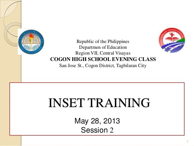 Republic of the PhilippinesDepartmen of EducationRegion VII, Central VisayasCOGON HIGH SCHOOL EVENING CLASSSan Jose St., C...