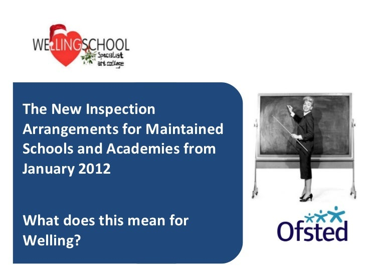 The New Inspection Arrangements for Maintained Schools and Academies from January 2012 What does this mean for Welling?