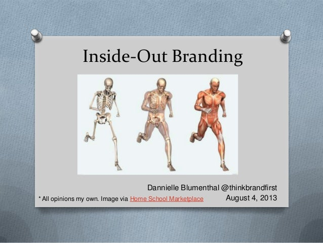 Inside-Out Branding Dannielle Blumenthal @thinkbrandfirst August 4, 2013* All opinions my own. Image via Home School Marke...