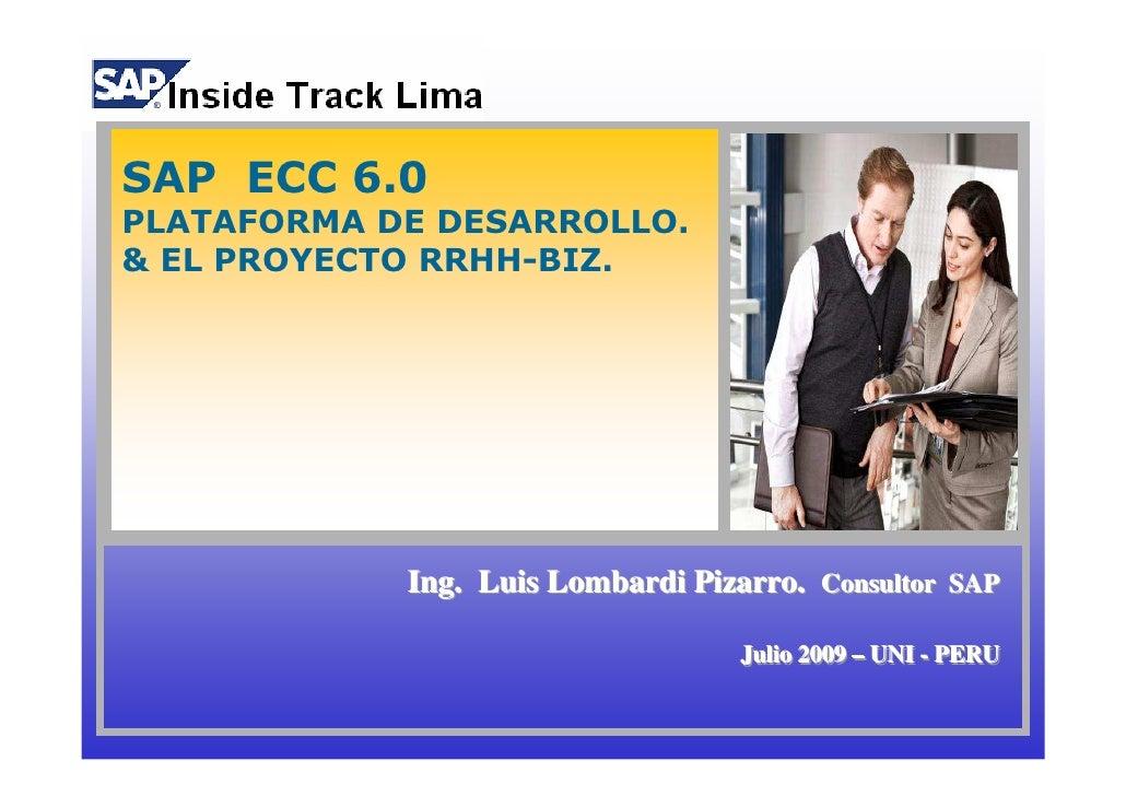 SAP ECC 6.0 PLATAFORMA DE DESARROLLO. & EL PROYECTO RRHH-BIZ.                 Ing. Luis Lombardi Pizarro. Consultor SAP   ...