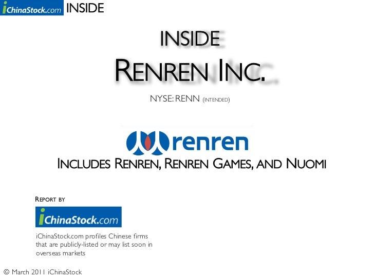 Inside Renren Inc. (NYSE: RENN) - By iChinaStock