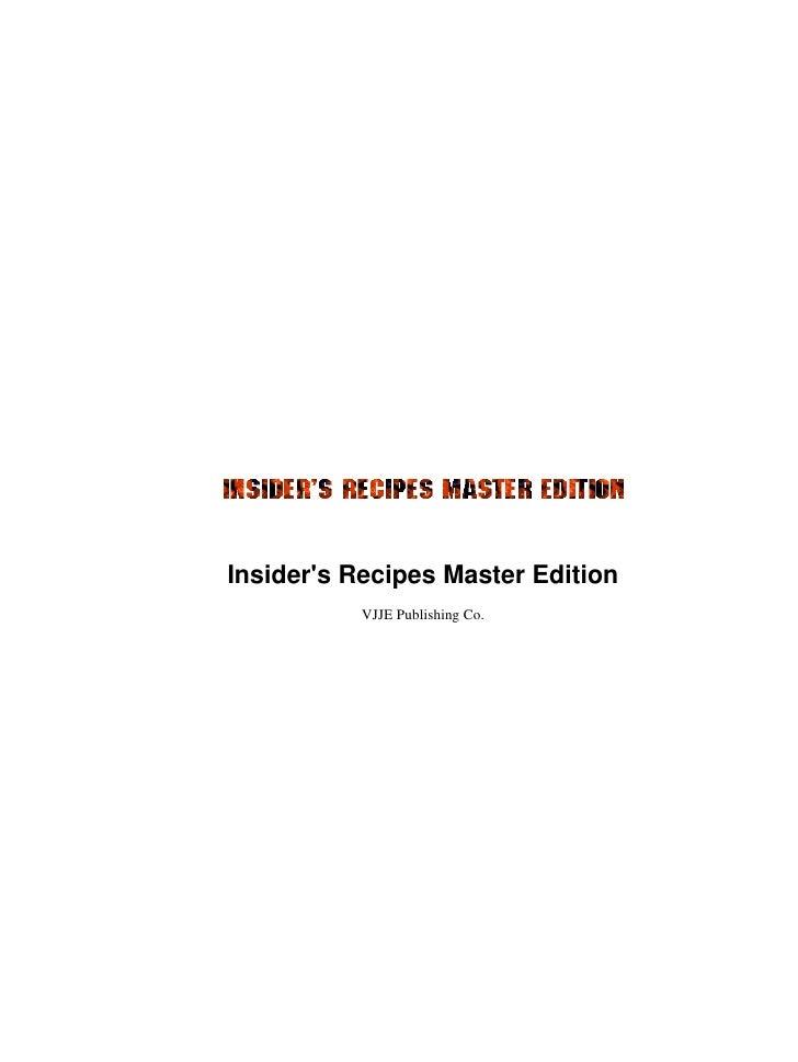 Insiders recipes master edition cookbook