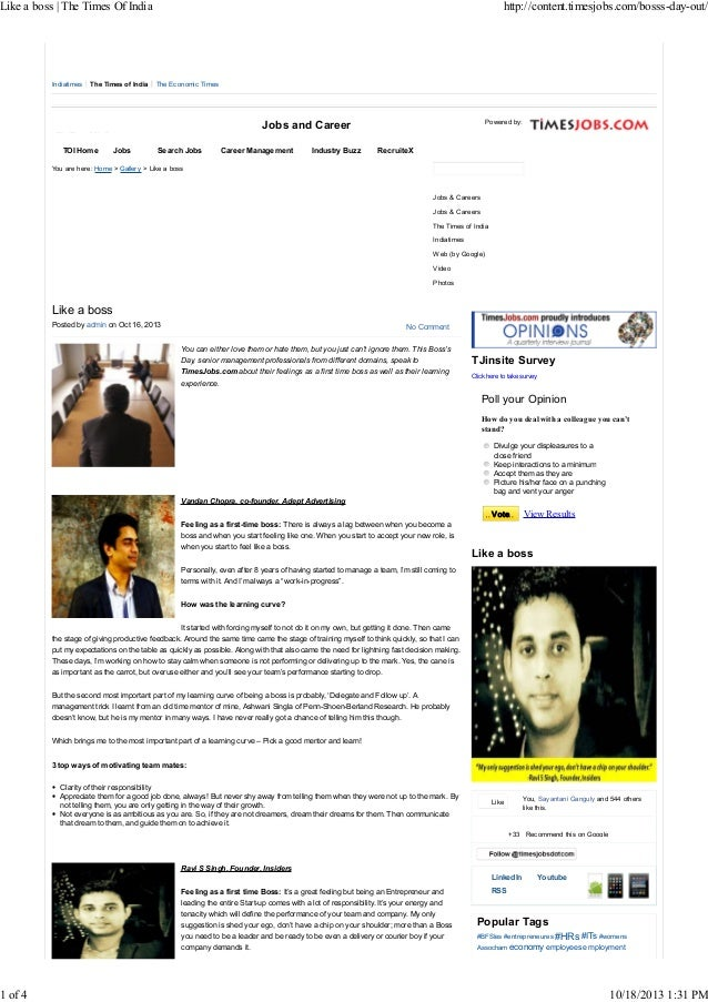 Like a boss | The Times Of India  1 of 4  Indiatimes  The Times of India  http://content.timesjobs.com/bosss-day-out/  The...