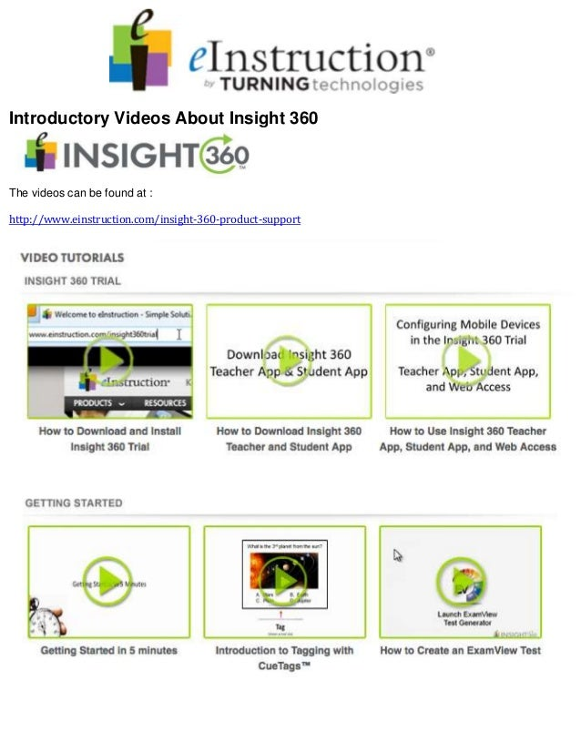 Introductory Videos About Insight 360 The videos can be found at : http://www.einstruction.com/insight-360-product-support