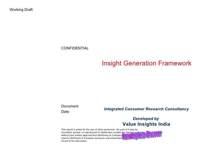 Insight Generation Framework V 5 Value Insights India