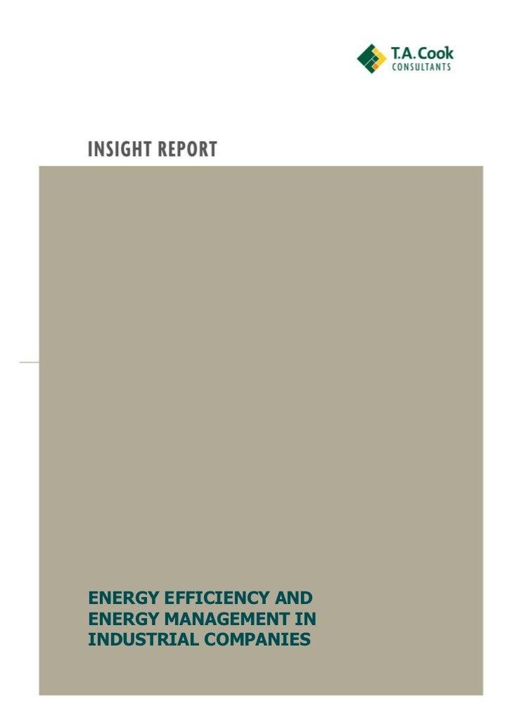 ENERGY EFFICIENCY ANDENERGY MANAGEMENT ININDUSTRIAL COMPANIES