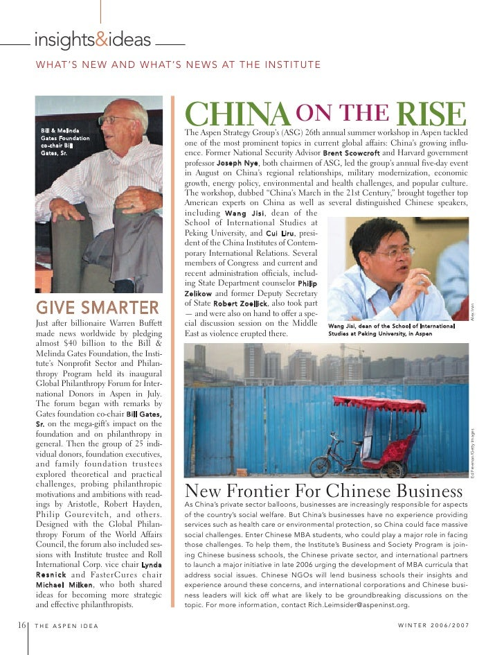 insights&ideas      WHAT'S NEW AND WHAT'S NEWS AT THE INSTITUTE                                                  CHINA ON ...