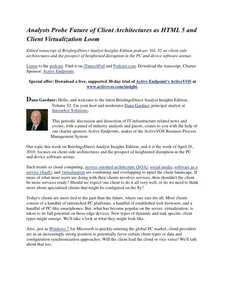 Analysts Probe Future of Client Architectures as HTML 5 and Client Virtualization Loom