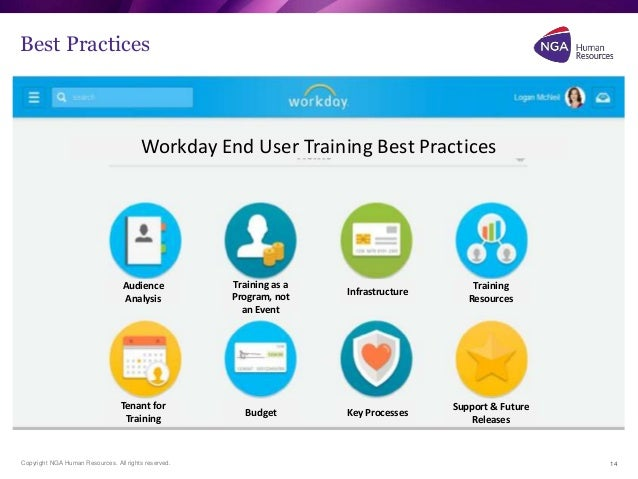 Workday change management for End user training plan template