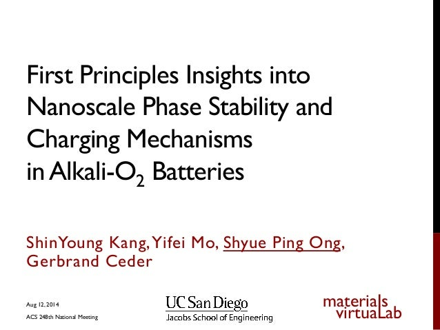 Insights into nanoscale phase stability and charging mechanisms in alkali o2 batteries from first principles calculations