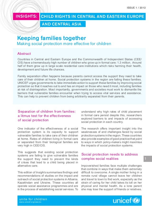 ISSUE 1 / 2012INSIGHTS: CHILD RIGHTS IN CENTRAL AND EASTERN EUROPE                         AND CENTRAL ASIAKeeping familie...