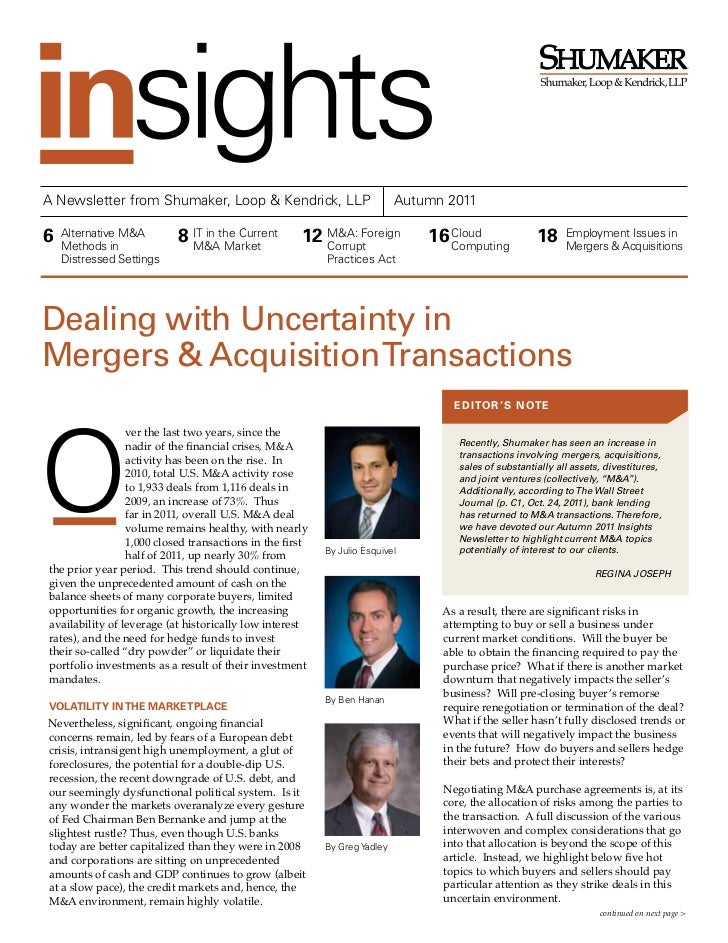 ®A Newsletter from Shumaker, Loop & Kendrick, LLP                           Autumn 20116   Alternative M&A    Methods in  ...