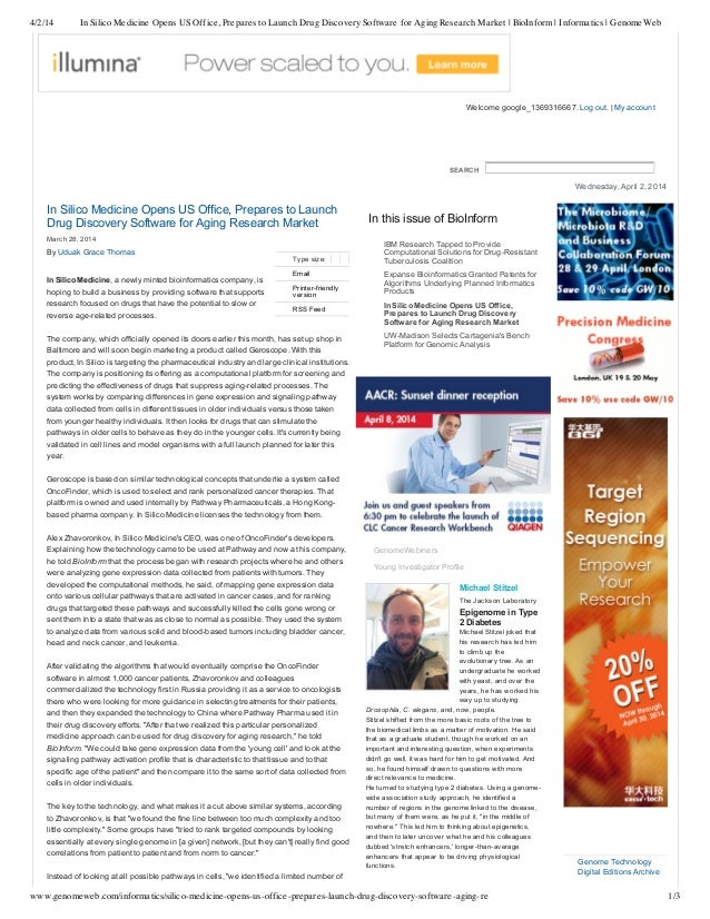 In silico medicine opens us office, prepares to launch drug discovery software for aging research market   bio inform _ informatics _ genomeweb