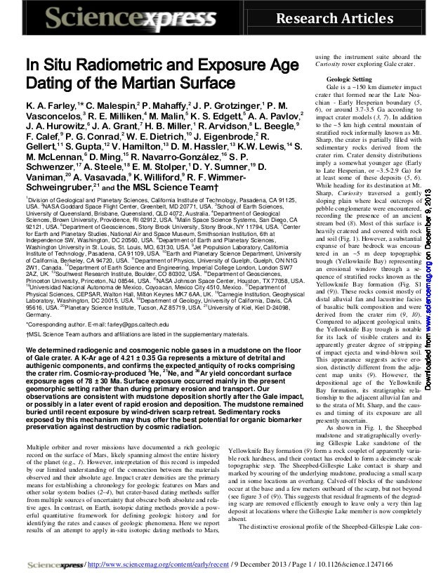 In situ radiometric_and_exposure_age_dating_of_the_martian_surface